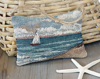 Coastal Lavender Sachet, Ocean Scene Tapestry, Door Hangar Sachet