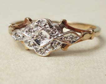 Art Deco Design Diamond Daisy Flower Ring, 9 Carat Gold and Diamond Engagement Ring Approx. Size US 7
