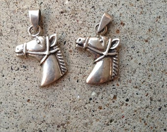 Horse Head Charms, sterling silver, stamped