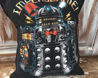 SALE- Dr Who Throw Pillow--Upcycled Eco Friendly-Quilted-