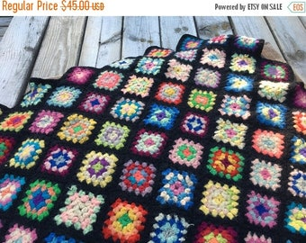 CRAZY SALE- Vintage Crocheted Granny Square Afghan Blanket-Wool Blend