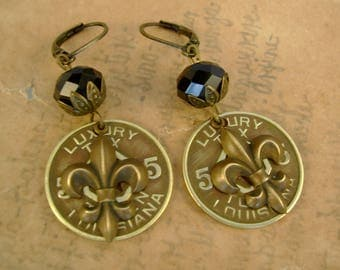 Saints Alive - 1936 Louisiana Luxury Tax Token Fleur De Lis New Orleans Saints Black and Gold Recycled Repurposed Upcycled Earrings