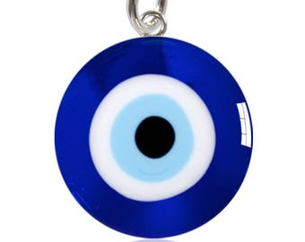 Evil Eye Sterling Silver Meniscus Charm or Pendant Blue Protection Symbol