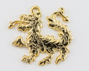 17mm Gold Dragon Charm #268A