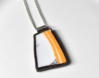 Broken China Jewelry Pendant - Orange and White