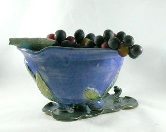 Ceramic Colander on Leaf Tray, Handmade Purple Berry Bowl on Dish, Pottery Fruit Bowl for Berries, Vegetables Strainer, Prep Bowl