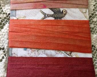 Hand dyed 4mm silk ribbon oranges 6 yards