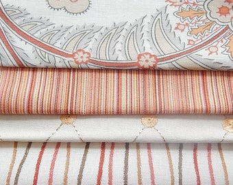 CLEARANCE - 4 pieces orange ivory fabrics, 7.5 x 9 inches