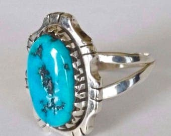 Vintage Navajo Turquoise Ring Sterling Silver Native American Women Size 8.5
