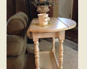 antique drop leaf table maple wood chairside table end table side table
