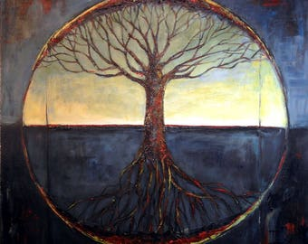 Tree of Life Made to Order - Black and Grey Vitruvian Modern Painting Tree Art - Original Artwork by BenWill