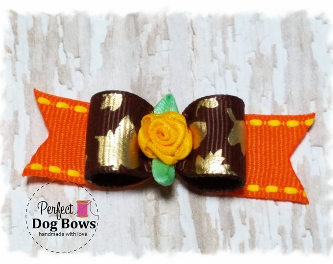 Leaves Dog Bow, Fall Leaves Dog Bow, Autumn Pet Bows, Fall Leaves Dog Hair Bow