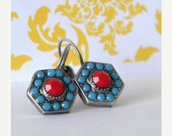 SALE Antique Silver Turquoise Cherry Red Victorian Style Leverback Earrings