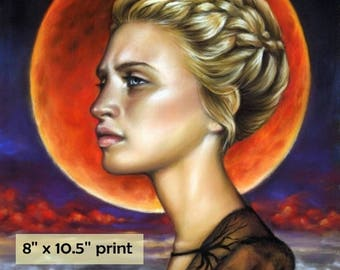 Blood Moon -  surreal pop fantasy art portrait woman 8 x 10.5 inches print of original pastel painting by Tanya Bond