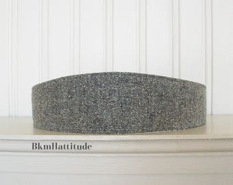 Gray and White Wool Tweed Headband - Womens Fabric Headband - Womens Headband - Wool Hair Wrap
