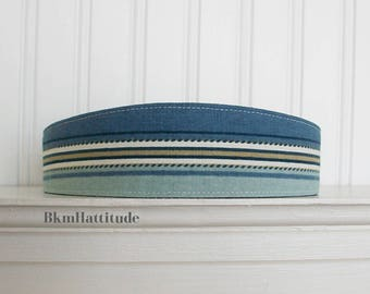 Cotton Fabric Headband Womens Headband - Womens Fabric Headband - Blue Headband Striped Headband - Nautical Headband