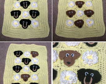 Baby Blanket Pattern - Dachshund Lace and Flowers Baby Afghan Crochet Pattern- Baby Crochet Pattern - Baby Afghan - Dachshund pattern