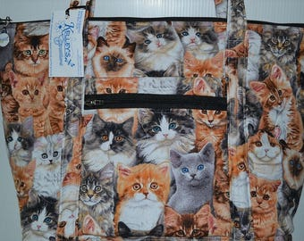 Quilted Fabric Tote Purse With Beautiful Cat Collage