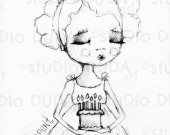 Birthday Wish 2 versions Digital Stamp - Printable - Art to Color by STUDIODUDAART