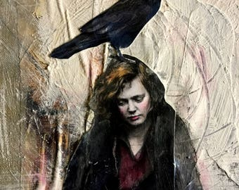 painting vintage woman with crow mugshot series