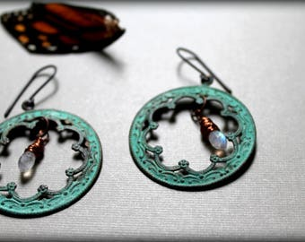 Moonstone Earrings, Verdigris Copper Gemstone Earrings, Brass Filigree Earrings, June Birthstone Earrings
