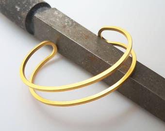 Twice as Nice Cuff Bangle in Gold Dipped - Industrial Bracelet by Queens Metal