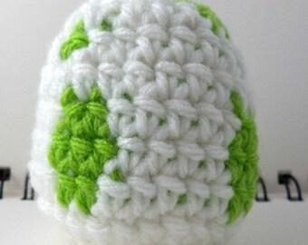 Crocheted Monster Egg - White and Green