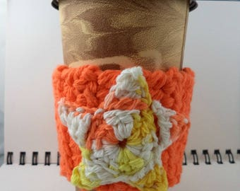 SALE - Orange with Orange, Yellow, and White Star Crocheted Coffee Cozy (SWG-B06)