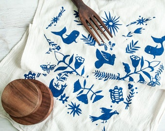 Dishtowel Set—Blue Otomi Print