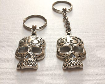 Skull Keychain - Silver Lucky Number 13 Key Ring - Skull Zipper Pull - Mens Keychains - Mens Skull Keychain - Stocking Stuffers
