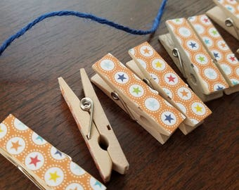 Sporty All Stars Little Clothespin Clips w Twine for Display -  Set of 12 - Boy Baby Birthday