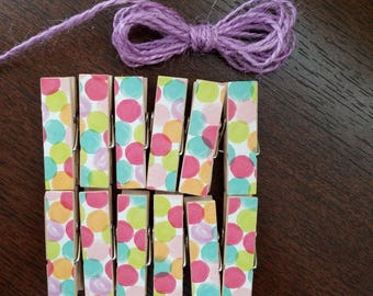 Pastel Confetti Watercolor Party Polka Dots Clips w Twine for Photo Display - Chunky Little Clothespin Set of 12 - Baby Shower Clothesline