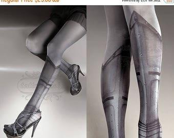 SALE///endsAug22/// Tattoo Tights - Warrior Princess asphalt one size full length printed tights closed toe pantyhose, tattoo socks, tattoo