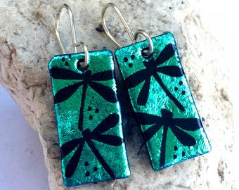 Green Dragonfly Earrings Hand Etched Dichroic Fused Glass with Sterling Silver Hooks