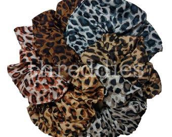 Leopard Scrunchie Set - Set of 6 animal print scrunchies