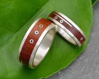 Mayan Numerology Wood Ring, Custom Number Ring, ecofriendly wood ring with recycled sterling, unique wood wedding ring, anniversary ring