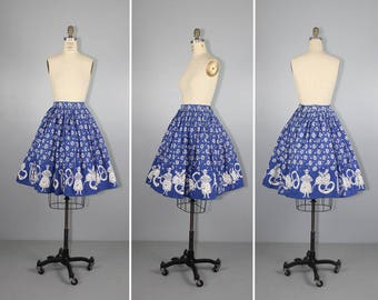 1950s / novelty print / HOFBRAU / german / vintage cotton skirt