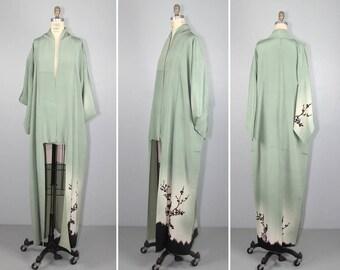 1950s kimono / silk robe / moss / SHADOW PLAY vintage silk kimono