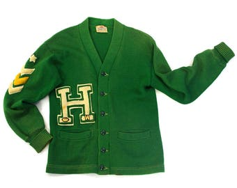 """50s Letterman Sweater / Vintage 1950s Varsity Athlete Button Up Kelly Green Wool Classic College High School Cardigan 37"""" Chest Unisex"""