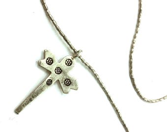 70s Sterling Silver Dragonfly Cross Dagger Pendant on Chain / Handmade Vintage 1970s Small Delicate Casual Artisan Made Necklace