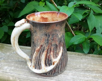 Deer antler inspired coffee mug handmade ceramic stoneware pottery in natural camo like colors 14 oz