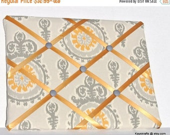 July 4th Sale Gold and Gray Memory Board French Memo Board,  Fabric Ribbon Memo Bulletin Board, Fabric Message Board, Housewarming Gift