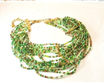 Christmas In July 40% Off Green Seed Bead Choker Necklace, Vintage Choker, Green Bead Choker, 1970 Green Necklace, Multi Strand Bead Necklac