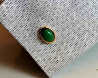 Krementz Green and Gold Cuff Links Vintage Cuff Links Signed Cufflinks Vintage Krementz Green Cuff Links Tuxedo Accessories