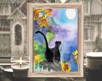 Tuxedo Black Cat in the Moonlight Sunflowers Quality Art Print