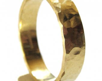 Flat Hammered solid 18K 18ct yellow gold wedding ring for men and women, rustic wedding band, recycled gold