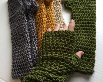 Long Fingerless Gloves or Arm Warmers Gray Green Gold Bone Crochet Fingerless Gloves
