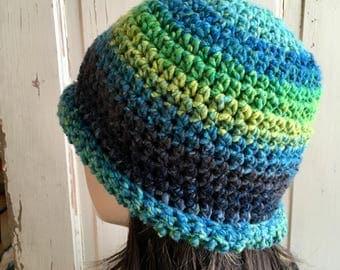 Classic Wool Roll Brim Hat Blue  Crochet Hat Ladies Hat