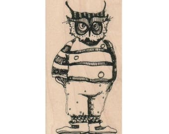 owl rubber stamp Steampunk supplies dressed in clothes   whimsical  Rubber Stamp by Mary Vogel Lozinak  tateam EUC team  19355