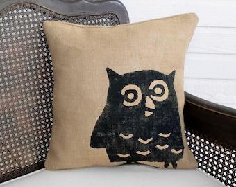 Owl - Burlap Pillow -  Owl Pillow - Owl Decor - Woodland Decor - Decorative Pillow